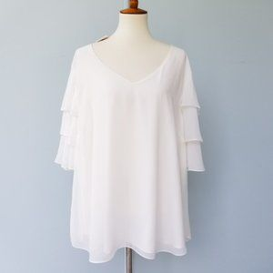 NWT Calvin Klein Plus Size 2X White Ruffled Blouse